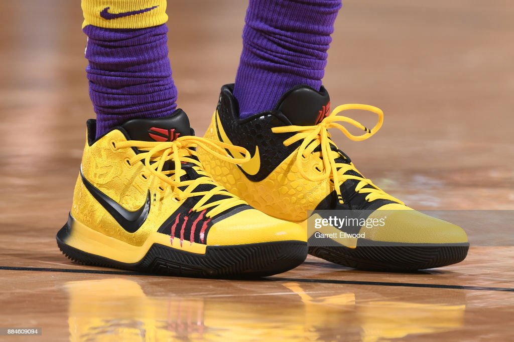 The sneakers of Jordan Clarkson #6 of the Los Angeles Lakers are seen during the game against the Denver Nuggets on December 2, 2017 at the Pepsi Center in Denver, Colorado.