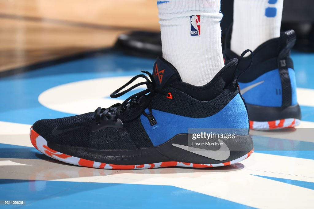 The sneakers of Josh Huestis #34 of the Oklahoma City Thunder during the game against the Sacramento Kings on March 12, 2018 at Chesapeake Energy Arena in Oklahoma City, Oklahoma.