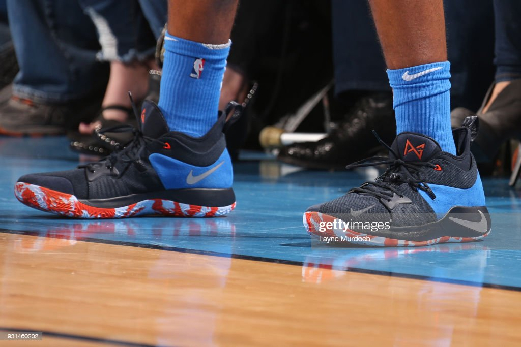 The sneakers of Josh Huestis #34 of the Oklahoma City Thunder during the game against the San Antonio Spurs on March 10, 2018 at Chesapeake Energy Arena in Oklahoma City, Oklahoma.