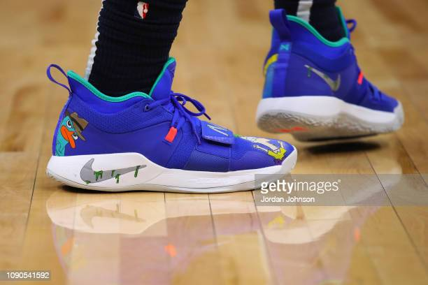 The sneakers of Josh Okogie of the Minnesota Timberwolves as seen during the game against the Utah Jazz on January 27 2019 at Target Center in...