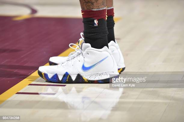 The sneakers of JR Smith of the Cleveland Cavaliers seen during the game against the Milwaukee Bucks on March 19 2018 at Quicken Loans Arena in...