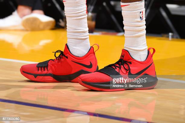 The sneakers of Justin Holiday of the Chicago Bulls are seen during the game against the Los Angeles Lakers on November 21 2017 at STAPLES Center in...