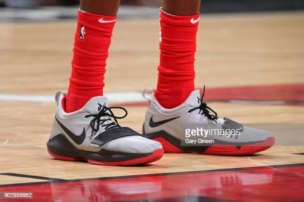 The sneakers of Justin Holiday of the Chicago Bulls during the game against the Houston Rockets on January 8 2018 at the United Center in Chicago...