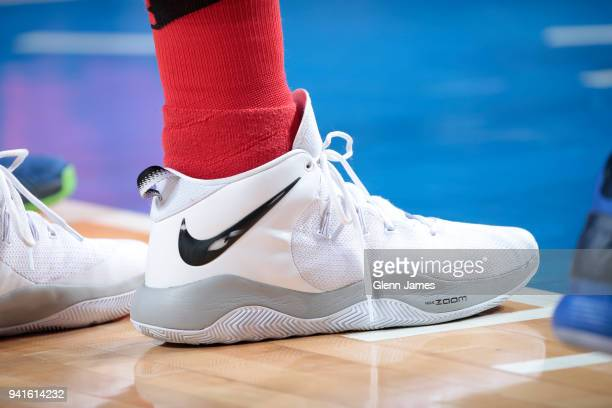 The sneakers of Jusuf Nurkic of the Portland Trail Blazers are seen during the game against the Dallas Mavericks on April 3 2018 at the American...