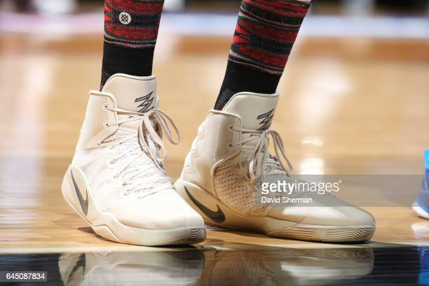 The sneakers of KarlAnthony Towns of the Minnesota Timberwolves are seen during a game against the Dallas Mavericks on February 24 2017 at the Target...