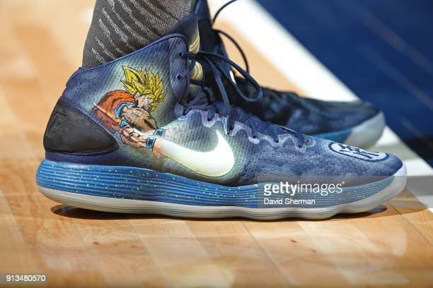 The sneakers of KarlAnthony Towns of the Minnesota Timberwolves during the game against the Milwaukee Bucks on February 1 2018 at Target Center in...