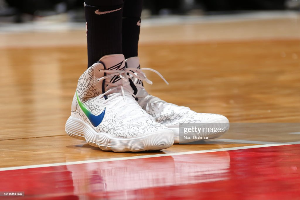 The sneakers of Karl-Anthony Towns #32 of the Minnesota Timberwolves during the game against the Washington Wizards on March 13, 2018 at Capital One Arena in Washington, DC.