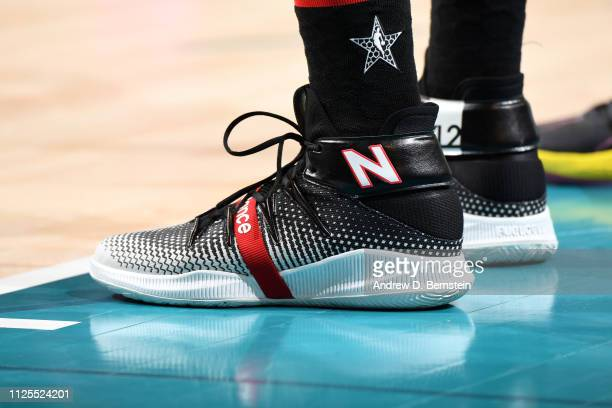 The sneakers of Kawhi Leonard of Team LeBron during the 2019 NBA AllStar Game on February 17 2019 at the Spectrum Center in Charlotte North Carolina...