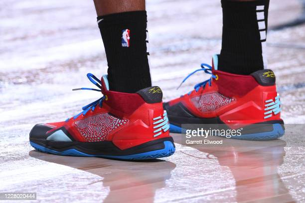 The sneakers of Kawhi Leonard of the LA Clippers are worn during a game against the Denver Nuggets on August 12 2020 at the AdventHealth Arena at in...