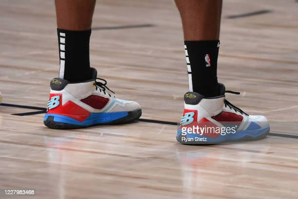 The sneakers of Kawhi Leonard of the LA Clippers during the game against the Brooklyn Nets on August 9 2020 in Orlando Florida at AdventHealth Arena...