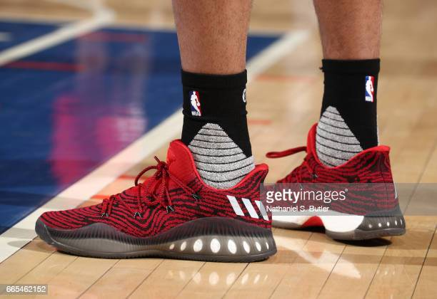 The sneakers of Kelly Oubre Jr #12 of the Washington Wizards are seen during a game against the New York Knicks on April 6 2017 at Madison Square...