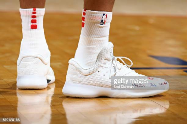 The sneakers of Kelly Oubre Jr #12 of the Washington Wizards during the game against the Phoenix Suns on November 1 2017 at Capital One Arena in...