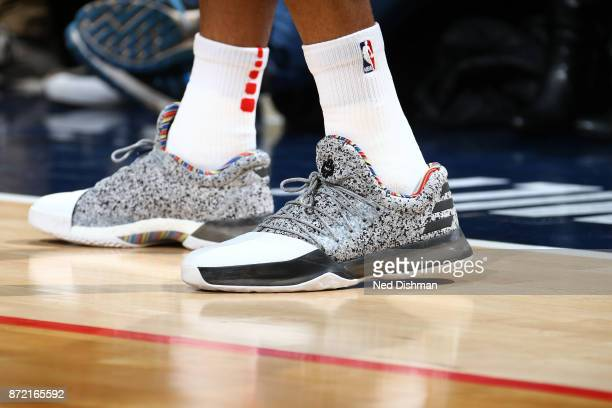 The sneakers of Kelly Oubre Jr #12 of the Washington Wizards during the game against the Dallas Mavericks on November 7 2017 at Capital One Arena in...
