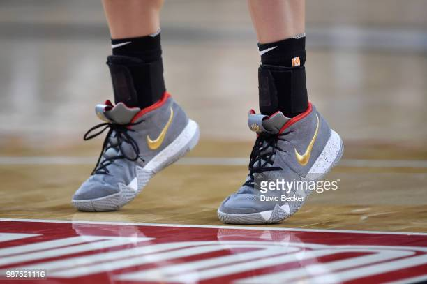 The sneakers of Kelsey Plum of the Las Vegas Aces are seen during the game against the Los Angeles Sparks on June 29 2018 at the Mandalay Bay Events...