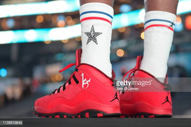The sneakers of Kemba Walker of Team Giannis before the 2019 NBA AllStar Game on February 17 2019 at Spectrum Center in Charlotte North Carolina NOTE...