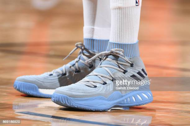 The sneakers of Kenneth Faried of the Denver Nuggets are seen during the game against the Toronto Raptors on November 1 2017 at the Pepsi Center in...