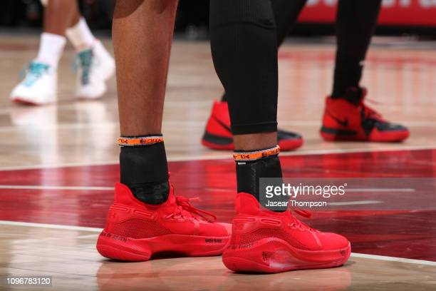 The sneakers of Kent Bazemore of the Atlanta Hawks during the game against the Charlotte Hornets on February 9 2019 at State Farm Arena in Atlanta...