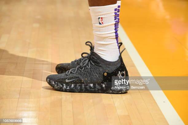 the sneakers of Kentavious CaldwellPope of the Los Angeles Lakers are seen against the Houston Rockets on October 20 2018 at STAPLES Center in Los...