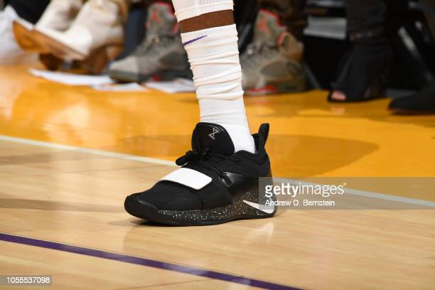the sneakers of Kentavious CaldwellPope of the Los Angeles Lakers are seen against the Denver Nuggets on October 25 2018 at STAPLES Center in Los...