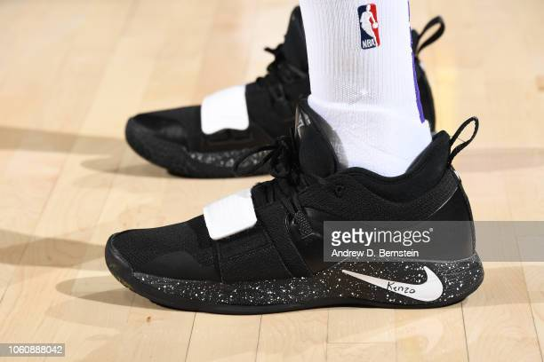 the sneakers of Kentavious CaldwellPope of the Los Angeles Lakers are seen against the Portland Trail Blazers on November 3 2018 at Moda Center in...