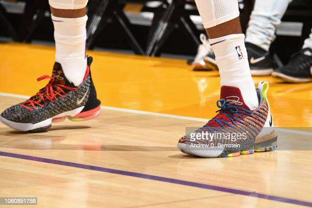 the sneakers of Kentavious CaldwellPope of the Los Angeles Lakers are seen against the Toronto Raptors on November 4 2018 at Staples Center in Los...