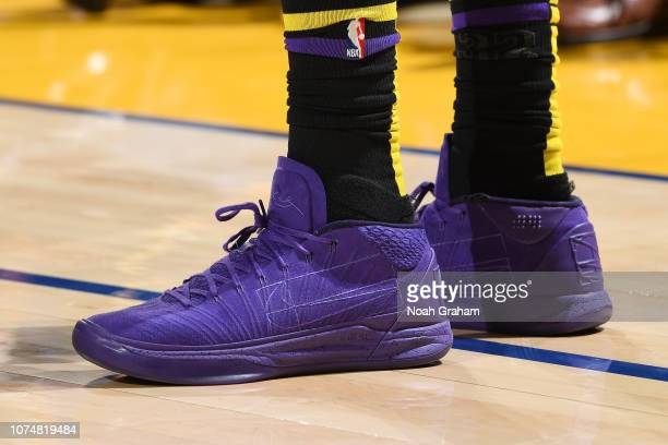 The sneakers of Kentavious CaldwellPope of the Los Angeles Lakers are seen against the Golden State Warriors on December 25 2018 at ORACLE Arena in...