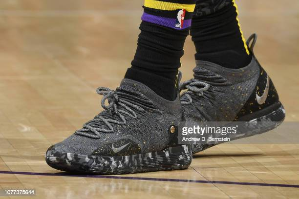 The sneakers of Kentavious CaldwellPope of the Los Angeles Lakers are seen against the New York Knicks on January 4 2019 at STAPLES Center in Los...