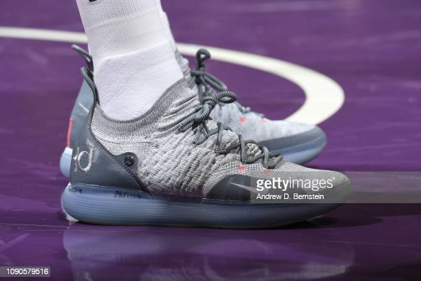 The sneakers of Kentavious CaldwellPope of the Los Angeles Lakers during the game against the Phoenix Suns on January 27 2019 at STAPLES Center in...