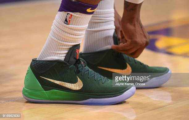 The sneakers of Kentavious CaldwellPope of the Los Angeles Lakers seen during the game against the Phoenix Suns on February 6 2018 at Staples Center...