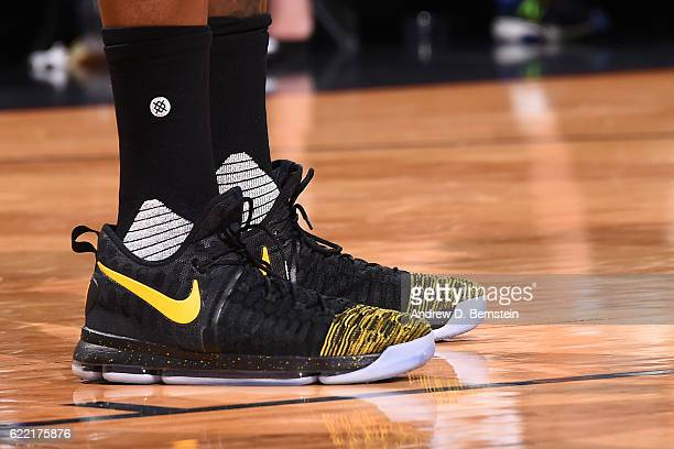 The sneakers of Kevin Durant of the Golden State Warriors are seen during a game against the New Orleans Pelicans at Smoothie King Center on October...