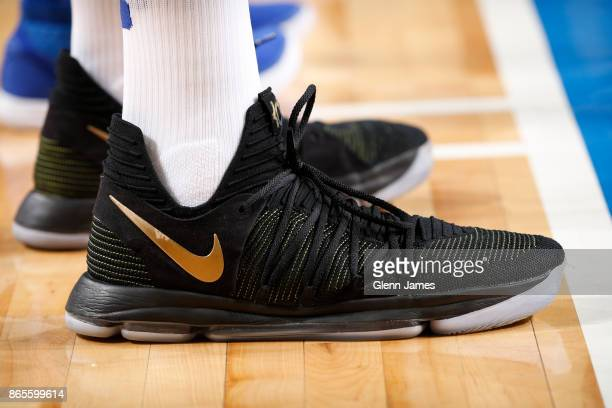 The sneakers of Kevin Durant of the Golden State Warriors are seen during a game against the Dallas Mavericks on October 23 2017 at the American...