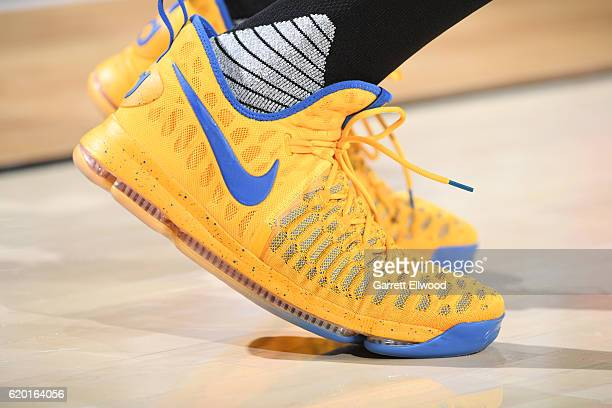 The sneakers of Kevin Durant of the Golden State Warriors are seen before the game against the Portland Trail Blazers on November 1 2016 at Moda...