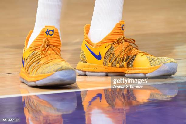 The sneakers of Kevin Durant of the Golden State Warriors are seen during the game against the Los Angeles Lakers on November 29 2017 at STAPLES...