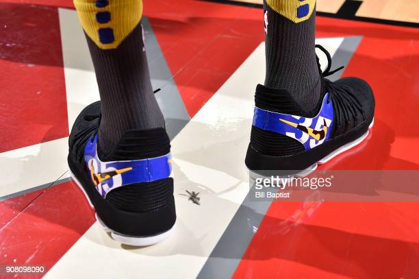 The sneakers of Kevin Durant of the Golden State Warriors are seen during the game against the Houston Rockets on January 20 2018 at the Toyota...