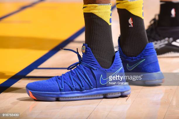 The sneakers of Kevin Durant of the Golden State Warriors are seen during the game against the San Antonio Spurs on February 10 2018 at ORACLE Arena...