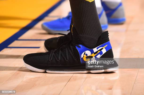 The sneakers of Kevin Durant of the Golden State Warriors are seen during the game against the LA Clippers on February 22 2018 at ORACLE Arena in...