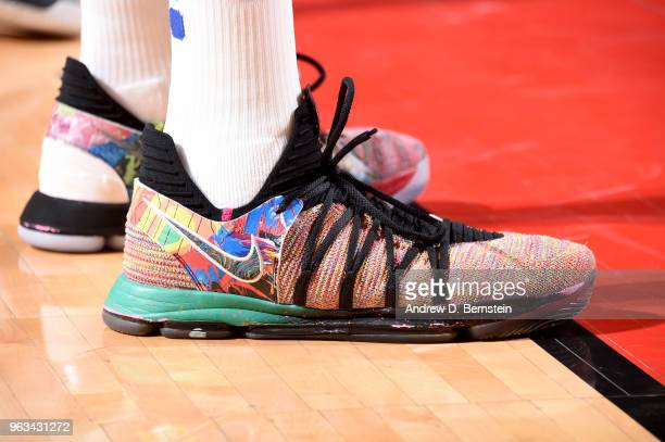 The sneakers of Kevin Durant of the Golden State Warriors are seen during the game against the Houston Rockets during Game Seven of the Western...