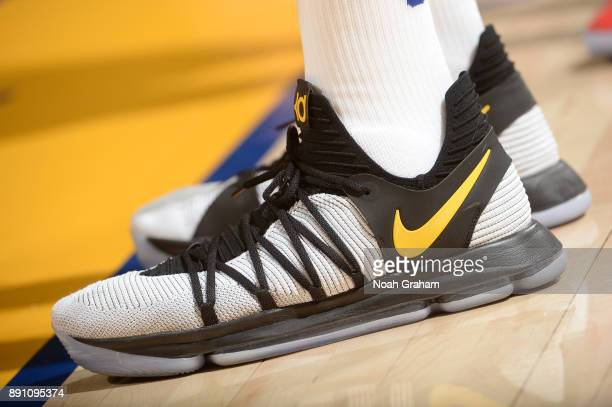 The sneakers of Kevin Durant of the Golden State Warriors during the game against the Portland Trail Blazers on December 11 2017 at ORACLE Arena in...