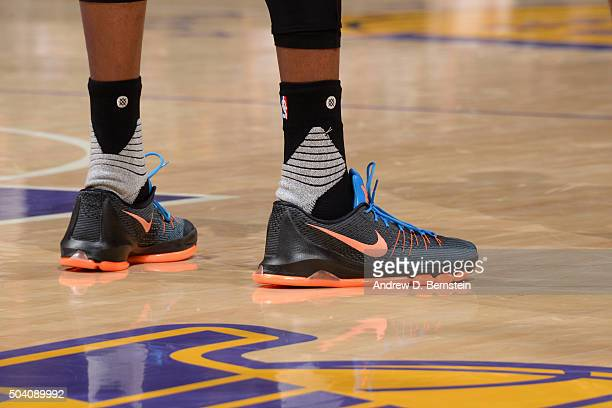 The sneakers of Kevin Durant of the Oklahoma City Thunder during the game against the Los Angeles Lakers on January 8 2016 at STAPLES Center in Los...