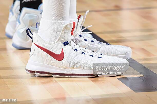 The sneakers of Kevin Durant of the USA Basketball Men's National Team during the game against Argentina on July 22 2016 at TMobile Arena in Las...