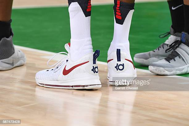 The sneakers of Kevin Durant of the USA Basketball Men's National Team during the game against Venezuela on Day 3 of the Rio 2016 Olympic Games at...