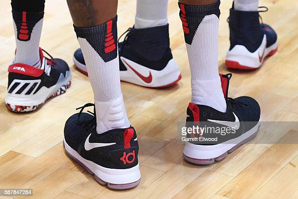 The sneakers of Kevin Durant of the USA Basketball Men's National Team during a practice event during the Rio 2016 Olympic Games on August 9 2016 at...