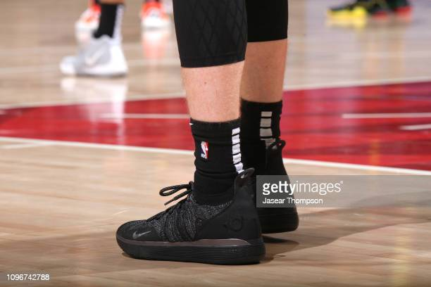 The sneakers of Kevin Huerter of the Atlanta Hawks during the game against the Charlotte Hornets on February 9 2019 at State Farm Arena in Atlanta...