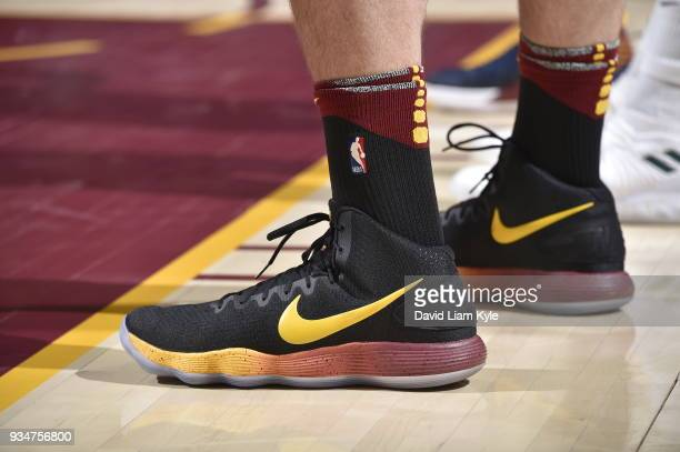 The sneakers of Kevin Love of the Cleveland Cavaliers seen during the game against the Milwaukee Bucks on March 19 2018 at Quicken Loans Arena in...