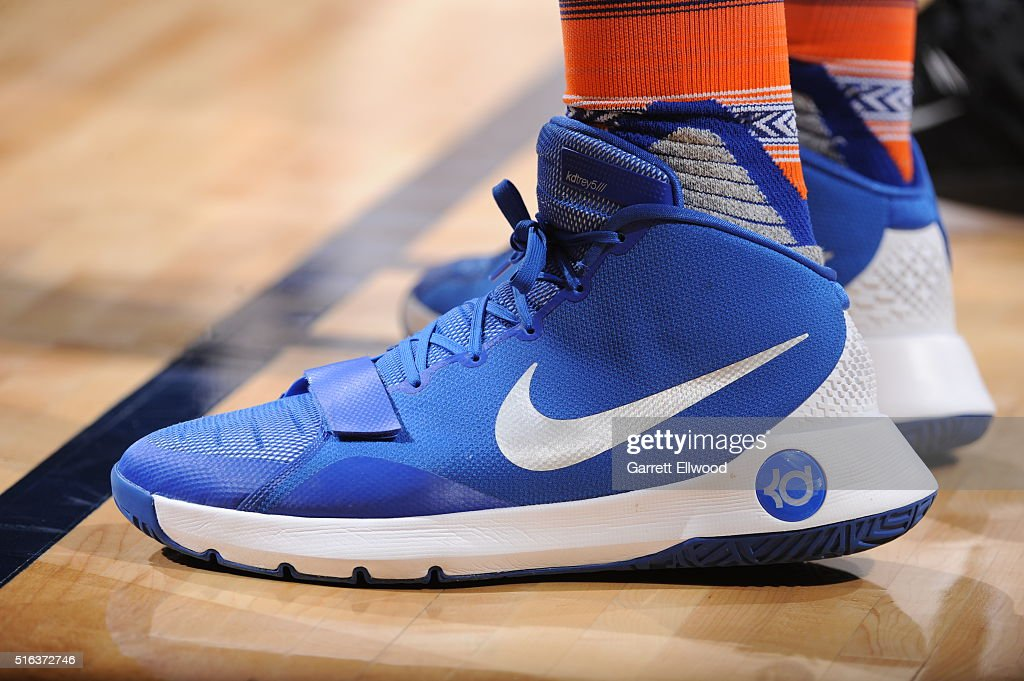 The sneakers of Kevin Seraphin #1 of the New York Knicks during the game against the Denver Nuggets on March 8, 2016 at the Pepsi Center in Denver, Colorado.