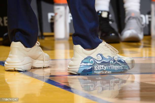 The sneakers of Kevon Looney of the Golden State Warriors during a game against the Oklahoma City Thunder on November 25 2019 at Chesapeake Energy...