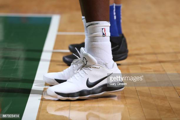 The sneakers of Khris Middleton of the Milwaukee Bucks are seen during the game against the Detroit Pistons on December 6 2017 at the BMO Harris...