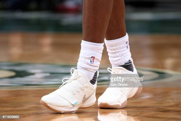The sneakers of Khris Middleton of the Milwaukee Bucks during the game against the Toronto Raptors in Game Four during the Eastern Conference...