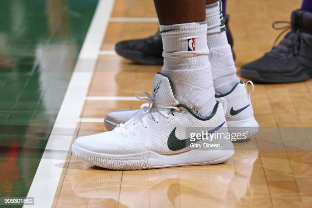 The sneakers of Khris Middleton of the Milwaukee Bucks during the game against the Phoenix Suns on January 22 2018 at the BMO Harris Bradley Center...