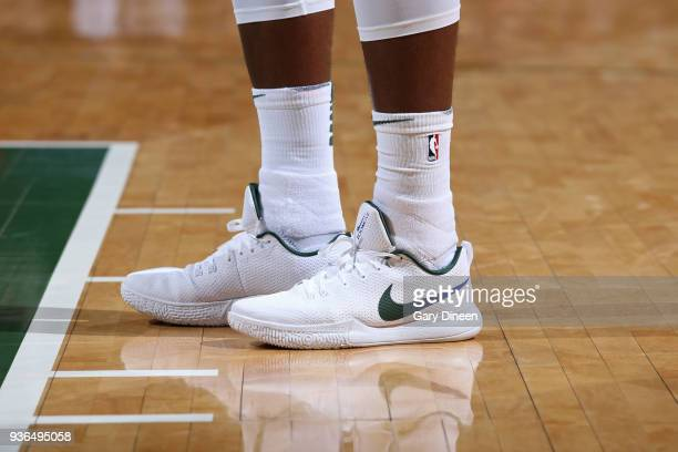 The sneakers of Khris Middleton of the Milwaukee Bucks during the game against the LA Clippers on March 21 2018 at the BMO Harris Bradley Center in...